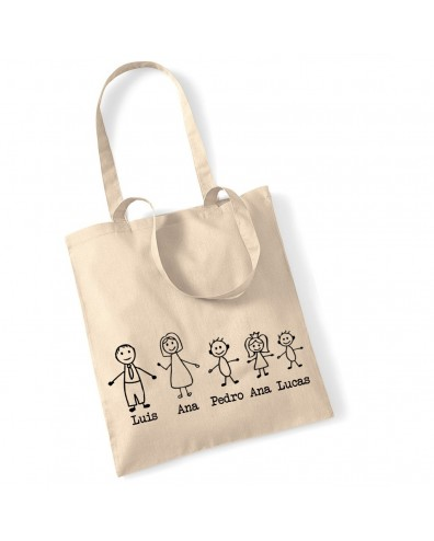 Regalo original bolsa con toda la familia y sus nombres