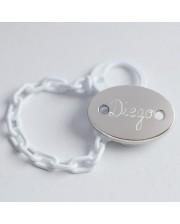 Regalo Bautizo. Broche de plata con nombre grabado