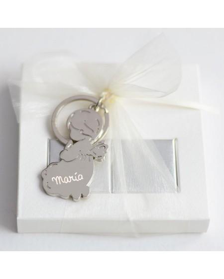 6 cajitas chocolates con llavero angel grabado