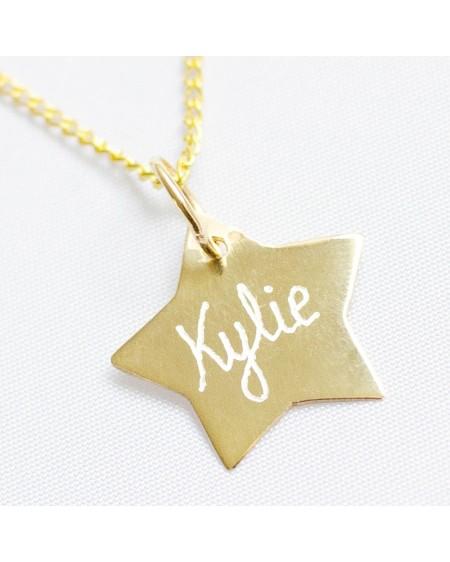 Colgante estrella oro con nombre