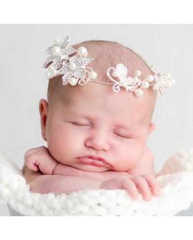 Tiara flores strass y perlas