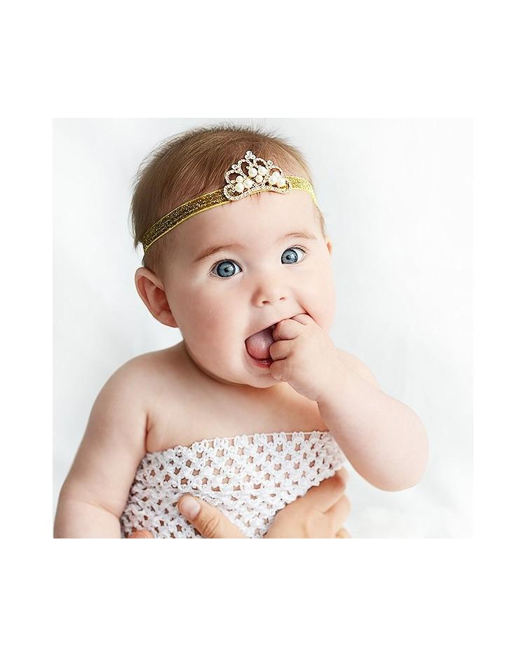 Cinta para bebé corona con perlitas