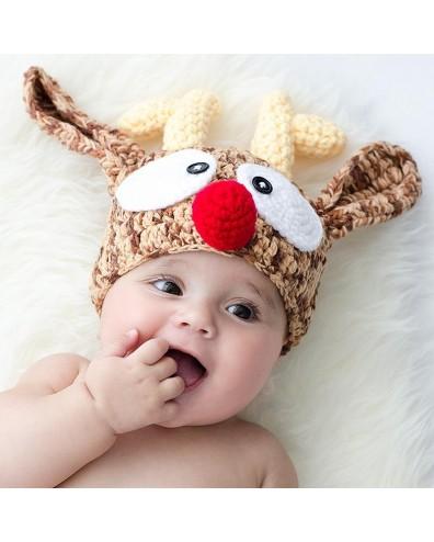 Gorro para bebé de crochet Reno Navidad