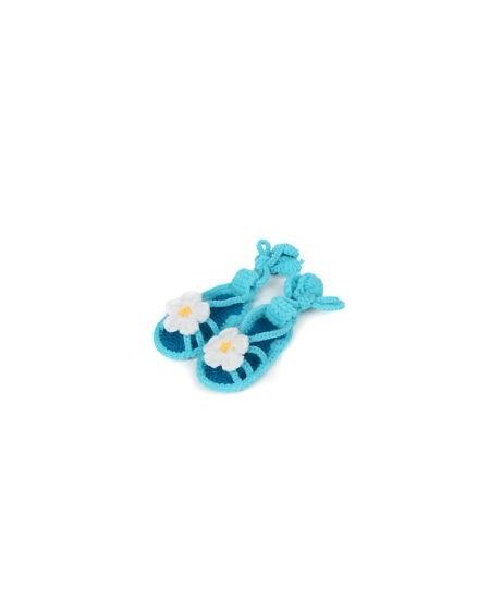 Sandalias crochet turquesas