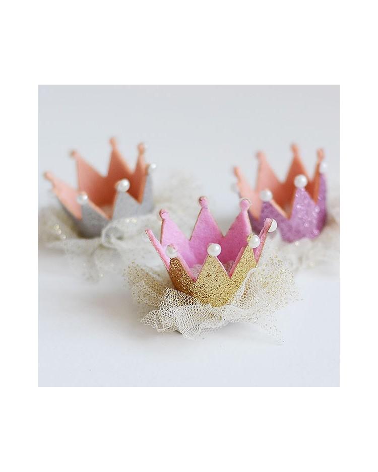 Coronita pequeña con clip en plata, oro o rosa