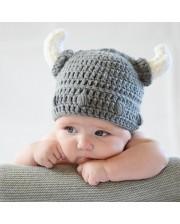 Gorro crochet casco vikingo para beb