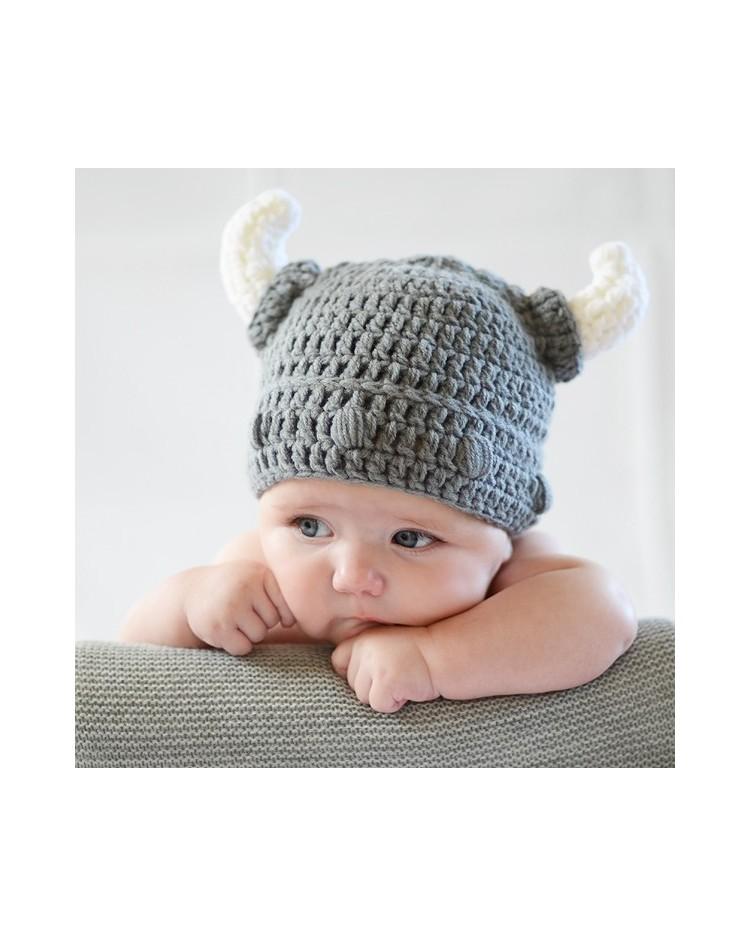 Gorro crochet casco vikingo para bebé 37b2fc24e43