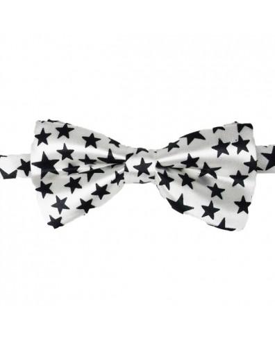 Pajarita blanca con estrellas negras para beb