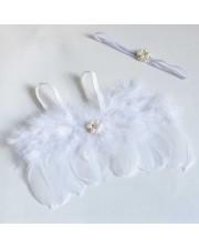 Set alas de angel con cinta de perlas