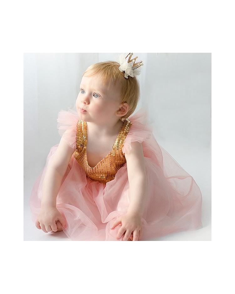 Vestido Princesa cuerpo lentejuelas doradas