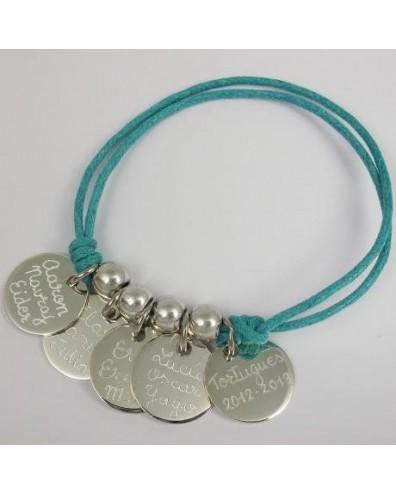 Pulsera con 5 medallas de plata grabadas