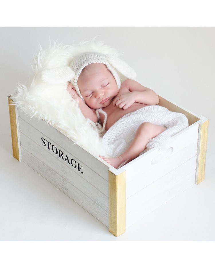Cajon blanco para atrezzo para fotos bebes