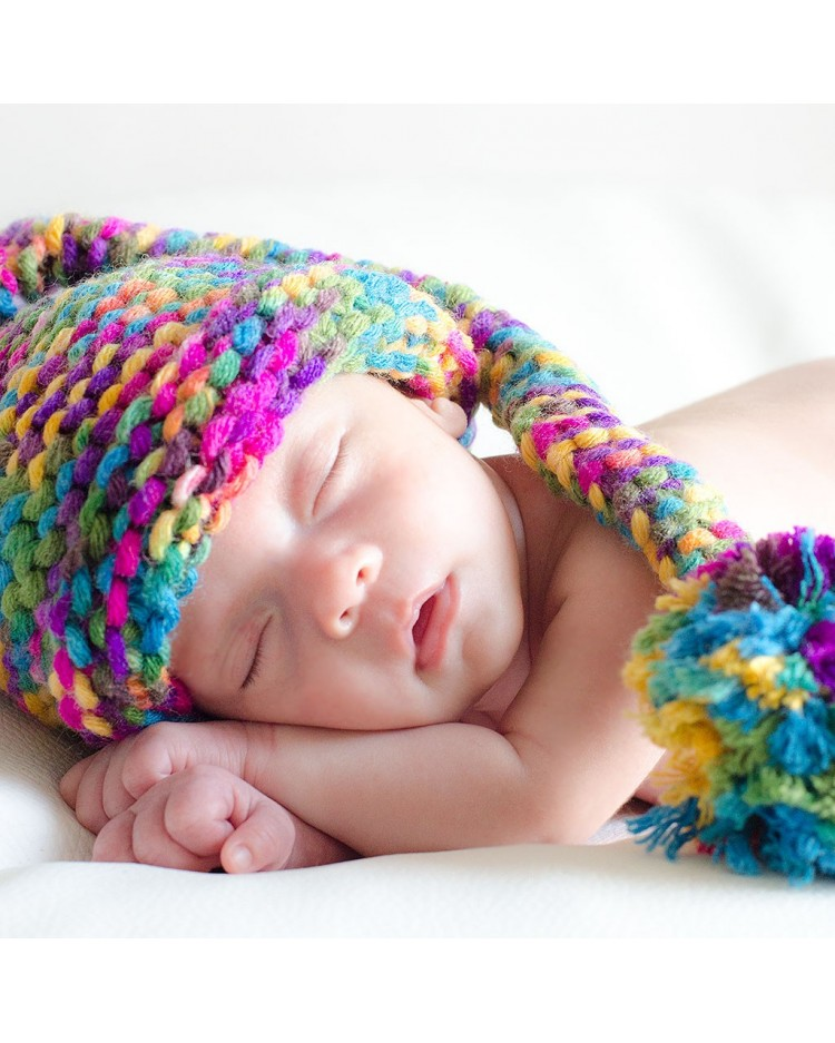 Gorrito bebé duende de colores