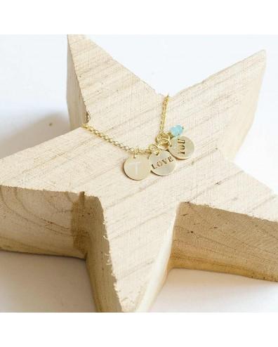 Collar de oro LOVE YOU y 2 iniciales