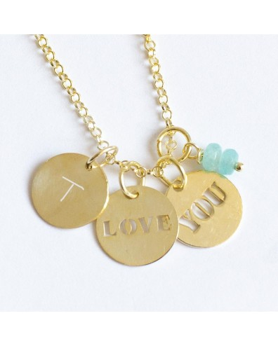 Collar de oro LOVE YOU y 2 iniciales