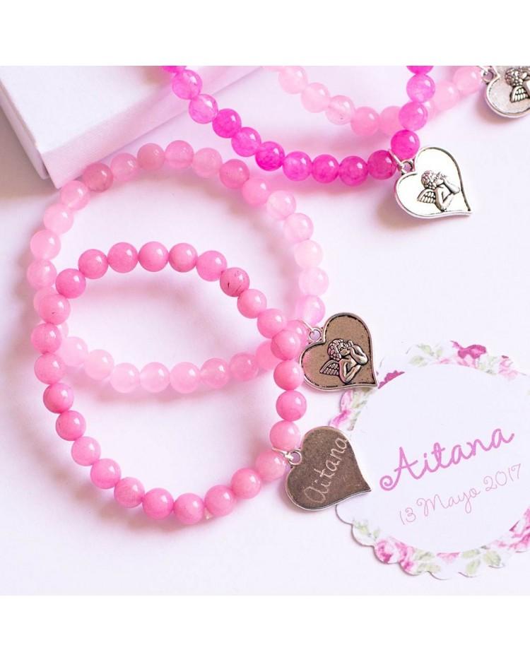 6 pulseras de cuarzo rosa con corazón