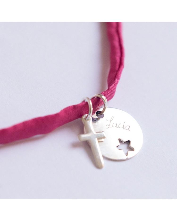 Collar con medalla de plata estrella calada cruz y nombre