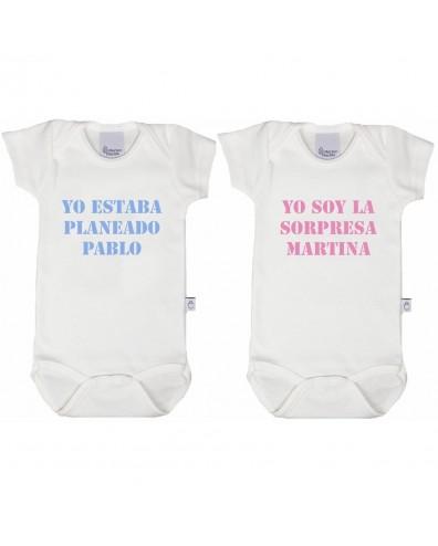 Bodys personalizados para gemelos o mellizos, niños y niñas sorpresa