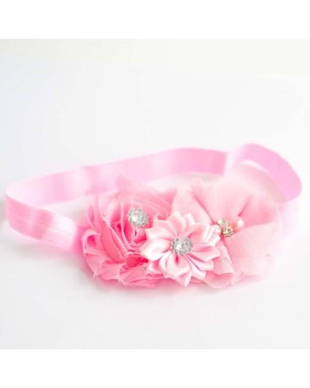 Diadema para bebés rosa con tres flores