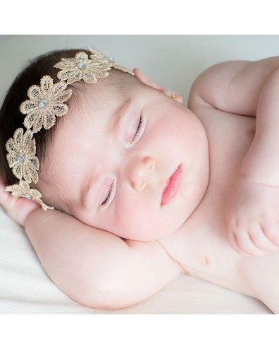 Diadema para bebés flores de encaje