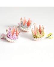 Coronita clip con perlitas en plata, oro o rosa