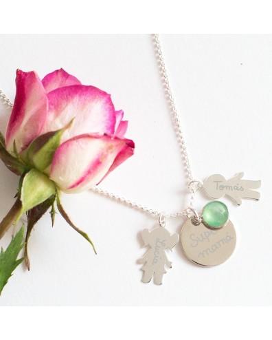 Collar de plata personalizado para mamás
