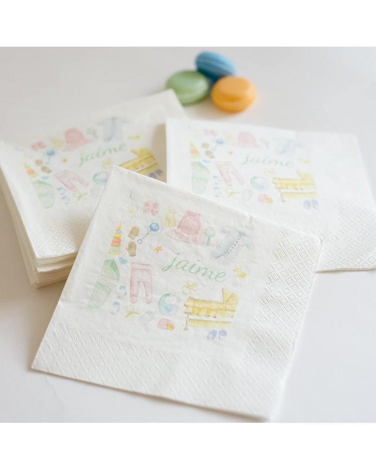 60 servilletas personalizadas Baby Shower