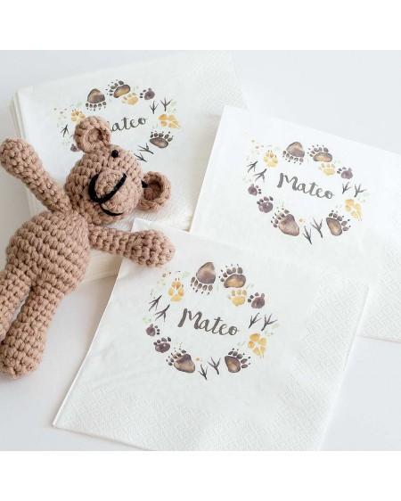 """60 servilletas personalizadas para Cumpleaños """"Oso"""""""