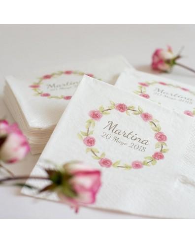 """60 servilletas personalizadas de Comunión """"Rosas"""""""