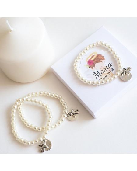 6 pulseras de perlas para invitados de bautizo