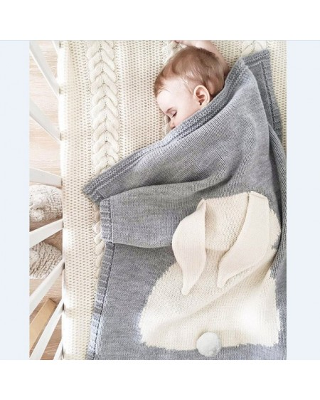 Manta de punto para bebé con conejo