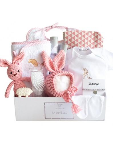 Canastilla bebé rosa empolvado
