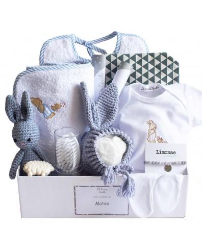 Canastilla bebé gorrito y peluche crochet