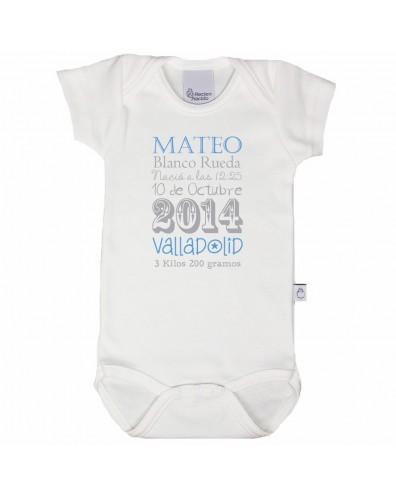 Body personalizado con los datos del bebé