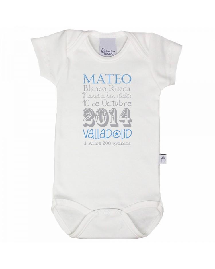 Body personalizado con todos los datos del bebé