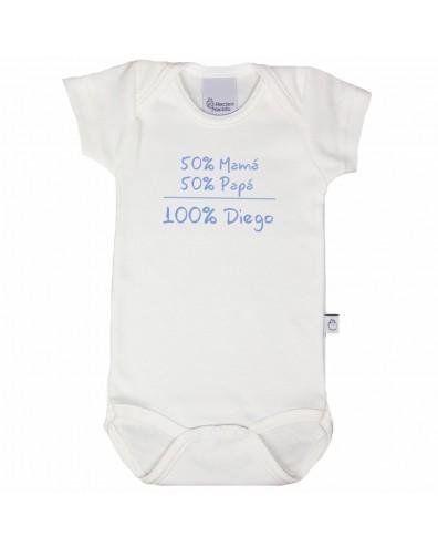 Body con nombre 50% mamá 50% papá 100% bebé