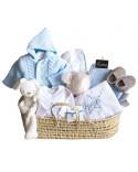 Canastilla regalo bebé gris en juguetero