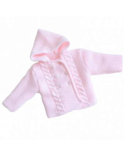 Abrigo de punto con capucha en rosa