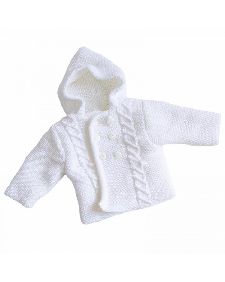 Chaquetón de punto con capucha en blanco