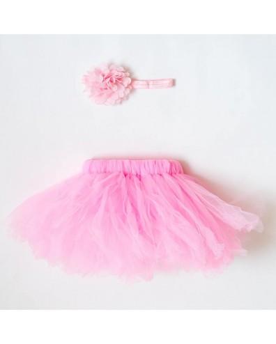 Falda tutu rosa para bebe con cinta para el pelo