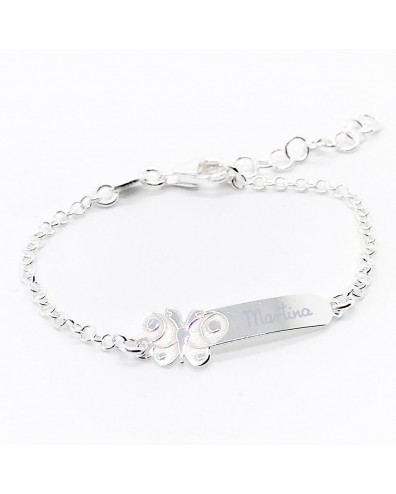 Regalo bautizo esclava de plata grabada con el nombre mariposa