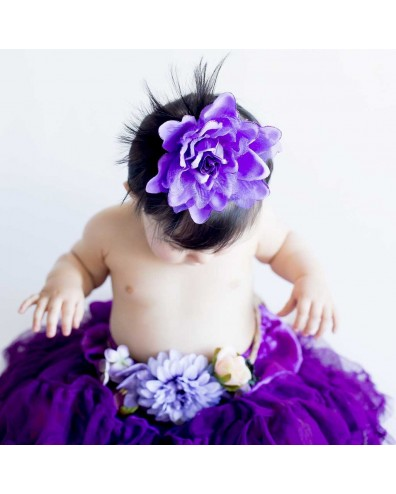 Flor clip violeta para bebe