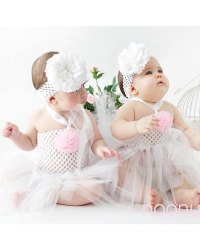 Falda de tul con cuerpo de crochet para bebe