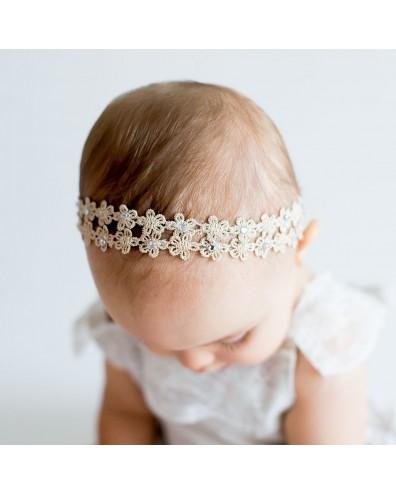 Diadema para bebés doble tira flor