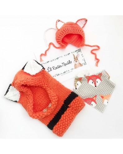 Capota crochet zorro para bebe