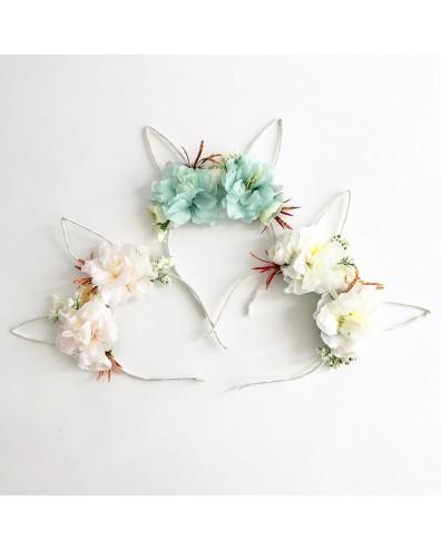 Diadema orejitas con flores