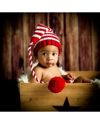 Gorro crochet Navidad bebe rojo y blanco