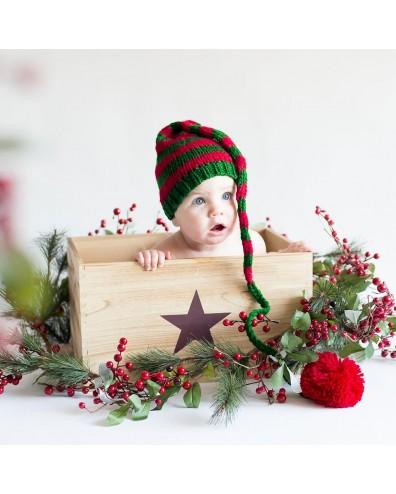 Gorrito bebé duende verde y rojo