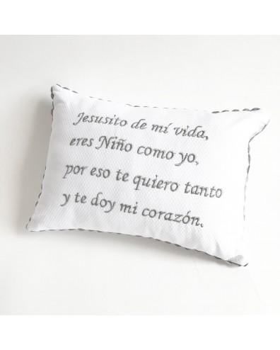 Coj/ín de Beb/é Piqu/é Blanco Texto Jesusito de Mi Vida Beige...