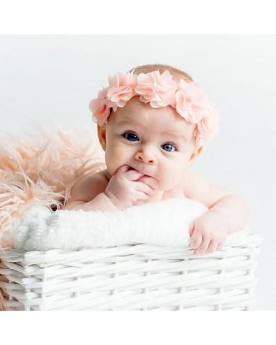 Diadema bebe cinta con flores rosa